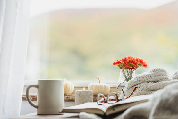 A cozy reading nook in the fall with a blanket and coffee:スマホ壁紙(壁紙.com)