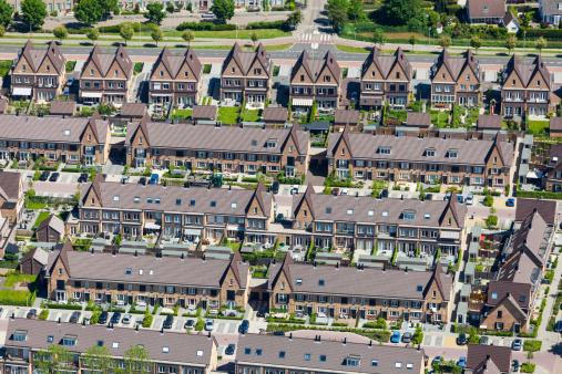 Netherlands「Modern suburb aerial view」:スマホ壁紙(5)