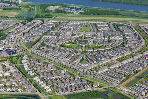 Netherlands「Modern suburb aerial view」:スマホ壁紙(4)