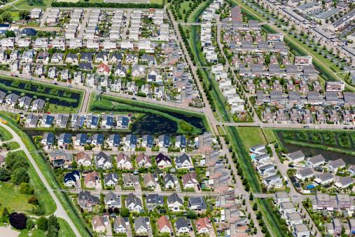 Netherlands「Modern suburb aerial view」:スマホ壁紙(2)
