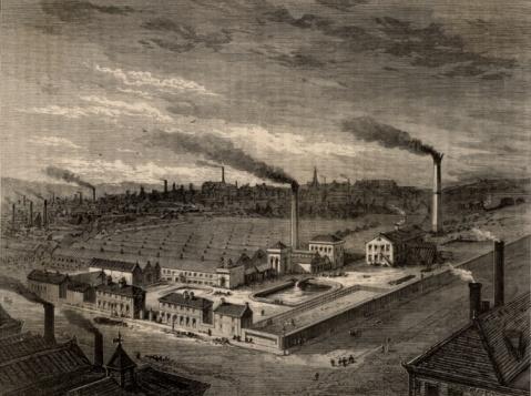 19th Century「Overlooking Isaac Holden & Sons' Alston wool combing works factory」:スマホ壁紙(18)