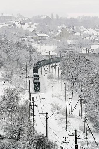 Railway「Ukraine, Dnepropetrovsk region, Dnepropetrovsk city, railroad track in winter」:スマホ壁紙(0)