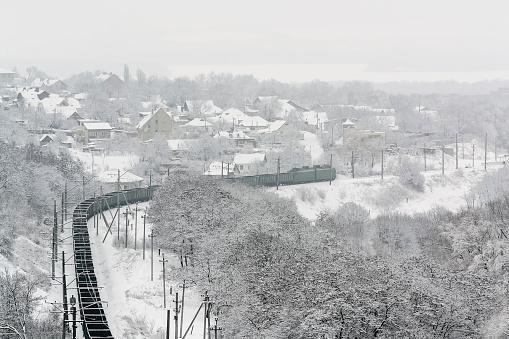 Railway「Ukraine, Dnepropetrovsk region, Dnepropetrovsk city, railroad track in winter」:スマホ壁紙(1)