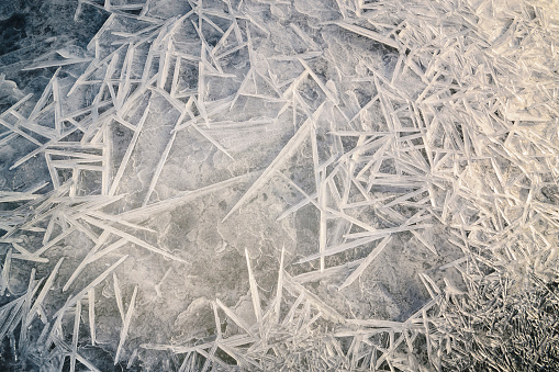 雪の結晶「Ukraine, Dnepropetrovsk region, Dnepropetrovsk city, Ice patterns on frozen river」:スマホ壁紙(9)