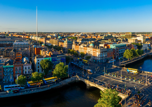 Liffey River - Ireland「Dublin aerial view with Liffey river and O'Connell bridge during sunset」:スマホ壁紙(3)