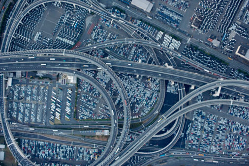 Yokohama「Japan, Yokohama, Kanagawa, Highway and Daikoku Parking Area, aerial view」:スマホ壁紙(11)