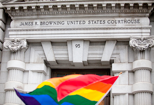Human Rights「A rainbow flag in front of the James R. Browning Courthouse」:スマホ壁紙(10)