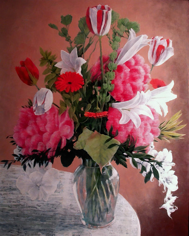 Lily「Flower Bouquet Painting of Tulips and Easter Lilly in Vase」:スマホ壁紙(11)