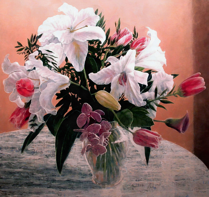Masterpiece「Flower Bouquet Painting of Tulips and Easter Lilly in Vase」:スマホ壁紙(12)