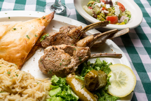Char-Grilled「Greek Lamb Chops with Dolmades, Salad and Tiropita」:スマホ壁紙(1)