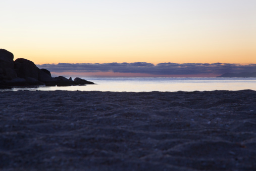 Baja California Peninsula「Dawn seascape with rock and sand」:スマホ壁紙(17)