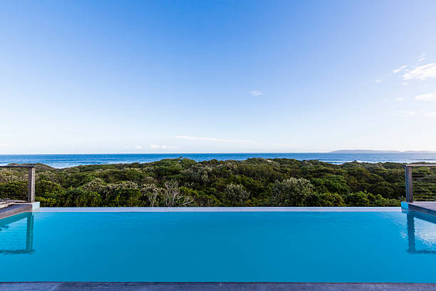 Luxury villa pool deck overlooking forest and ocean:スマホ壁紙(壁紙.com)