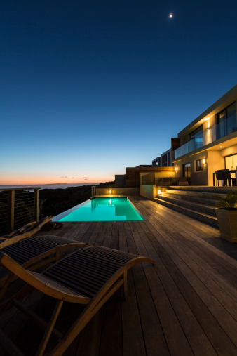 Chalet「Luxury villa pool deck at dusk」:スマホ壁紙(6)