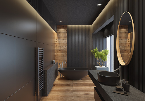 Black Color「Luxury villa minimalist black bathroom」:スマホ壁紙(12)