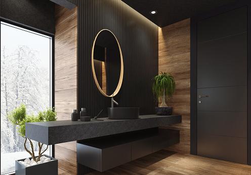 Black Color「Luxury villa minimalist black bathroom」:スマホ壁紙(18)
