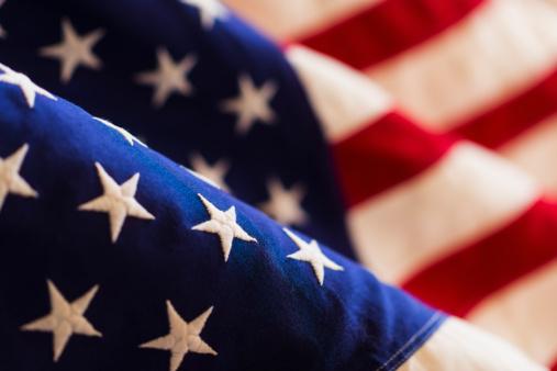 Patriotism「Detail of US flag, studio shot」:スマホ壁紙(10)