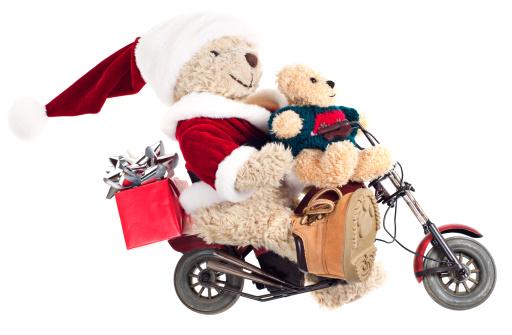 Motorcycle「Santa with Baby Bear on Motorbike」:スマホ壁紙(3)