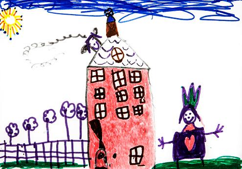 Princess「Child's drawing, Castle and princess」:スマホ壁紙(6)