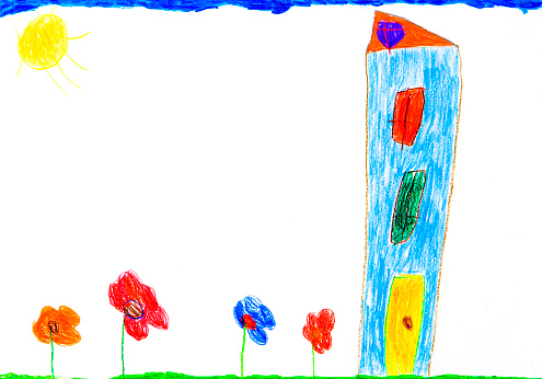 Imagination「Child's drawing, Colorful house and flowers」:スマホ壁紙(14)