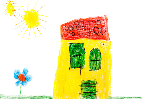 Art And Craft「Child's drawing, Colorful house, flower and sun」:スマホ壁紙(1)