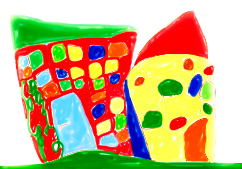 Imagination「Child's drawing, Colorful house」:スマホ壁紙(19)