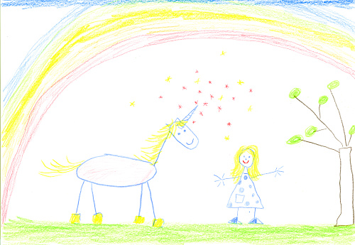 Colored Pencil「Child's drawing of unicorn and girl on paper」:スマホ壁紙(18)