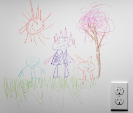 Art And Craft「Child's drawing on wall」:スマホ壁紙(6)