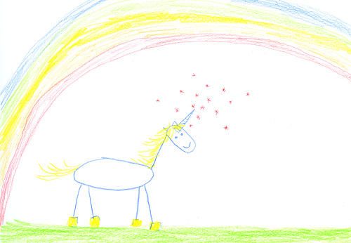 虹「Childs drawing of unicorn on paper」:スマホ壁紙(11)
