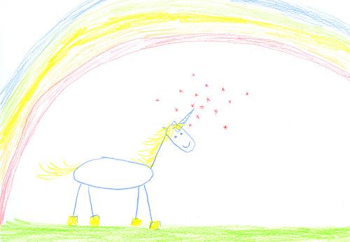 虹「Childs drawing of unicorn on paper」:スマホ壁紙(0)