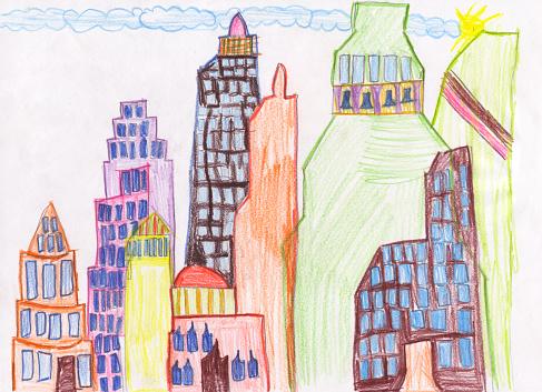 朗らか「子供の絵超高層ビル街」:スマホ壁紙(0)