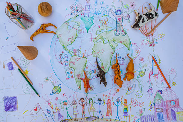 Child's drawing of the planet Earth (people, rainbow, multiculturalism):スマホ壁紙(壁紙.com)