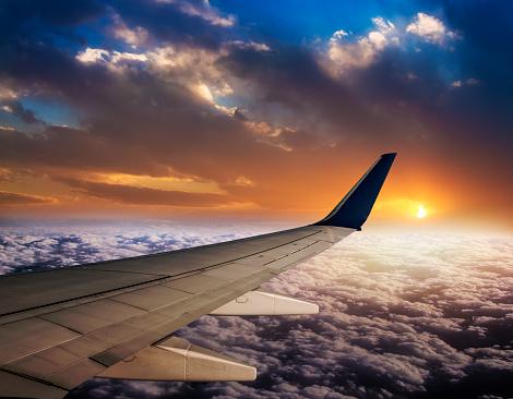Aircraft Wing「Watching sunset on flight」:スマホ壁紙(19)