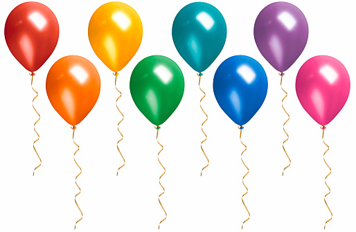 Balloon「Rainbow Colored Floating Balloons with Streamers Isolated on White」:スマホ壁紙(13)