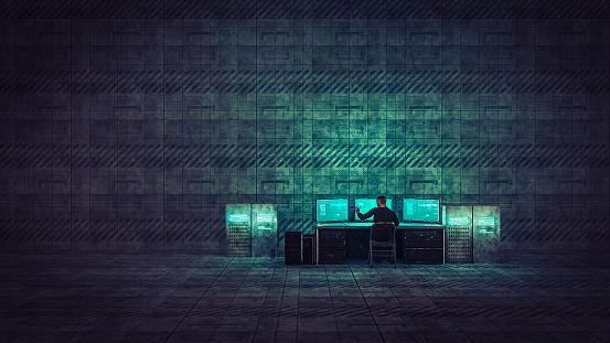 Computer Crime「Hacker in old warehouse」:スマホ壁紙(17)