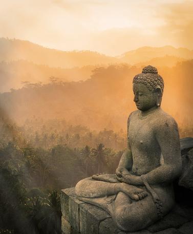 Buddha statue「Statue of Buddha at sunset, Borobudur, Java, Indonesia」:スマホ壁紙(4)