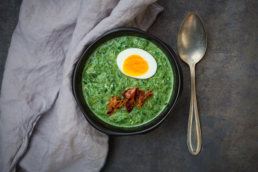 Spinach「Cream of spinach soup with egg and bacon」:スマホ壁紙(10)