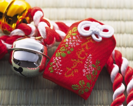 Spaghetti Straps「Japanese amulet and gold and silver bells put on strap, high angle view」:スマホ壁紙(12)