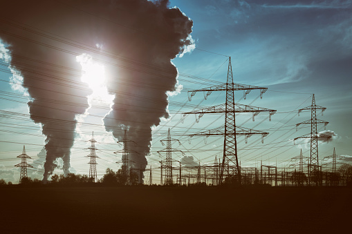 Electricity Pylon「Silhouettes of electricity pylons and two power plants with pollution」:スマホ壁紙(17)