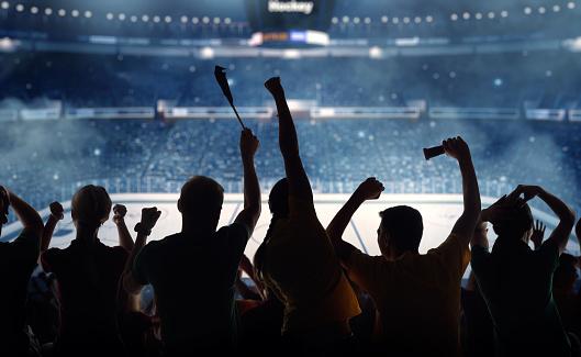 Ice Hockey Stick「Silhouettes of hockey fans at a hockey game」:スマホ壁紙(14)