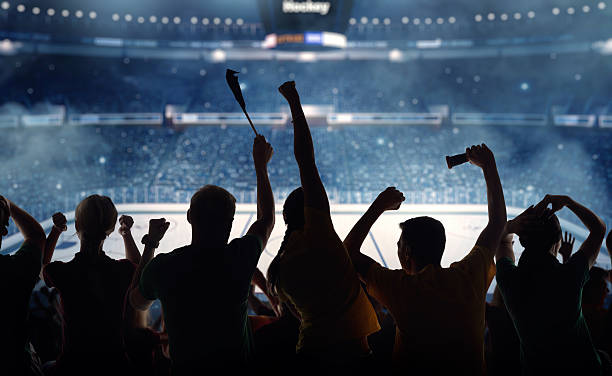 Silhouettes of hockey fans at a hockey game:スマホ壁紙(壁紙.com)