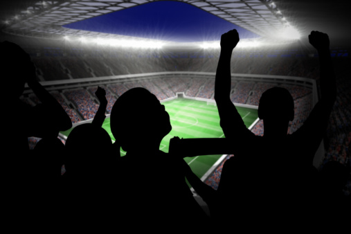 Cheering「Silhouettes of football supporters」:スマホ壁紙(11)