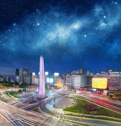 Obelisco de Buenos Aires「Argentina Buenos Aires downtown with obelisco at night」:スマホ壁紙(12)