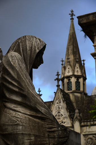 Buenos Aires「Argentina, Buenos Aires, Close up of sculpture and church tower in Recoleta Cemetery」:スマホ壁紙(8)