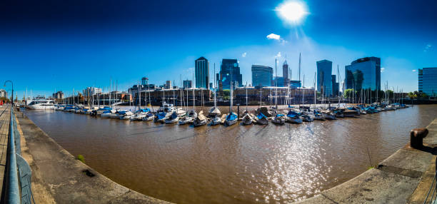 Argentina, Buenos Aires, Puerto Madero, Dock Sud with Catalinas Towers, financial district, Retiro, wide angle view, panorama:スマホ壁紙(壁紙.com)