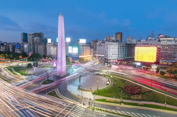 Argentina Buenos Aires rush hour center with obelisco at night:スマホ壁紙(壁紙.com)