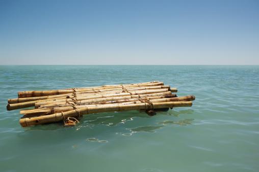 Nautical Vessel「Bamboo raft floating in sea」:スマホ壁紙(14)