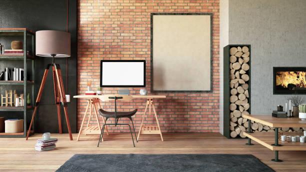 Cozy Workspace with Fireplace:スマホ壁紙(壁紙.com)