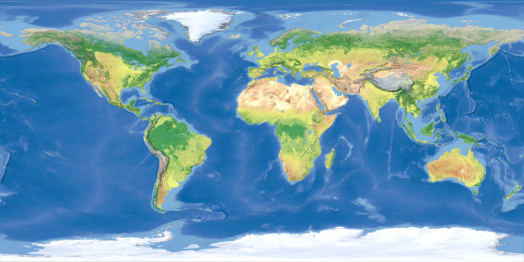 Indian Ocean「Terrain map of the world from satellite view」:スマホ壁紙(15)