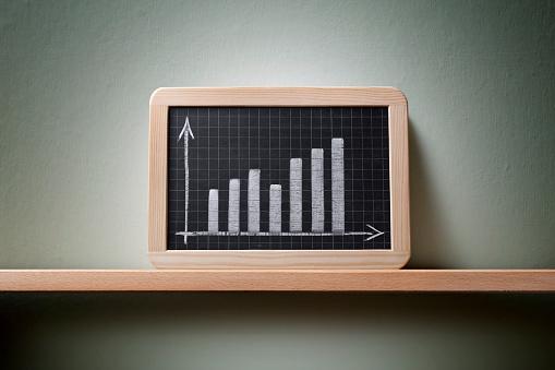 経済「グラフに描かれた、黒板」:スマホ壁紙(8)