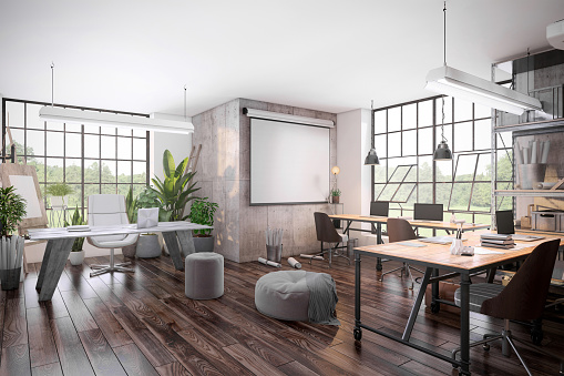 Wide Angle「Small office interior  with projector screen」:スマホ壁紙(16)